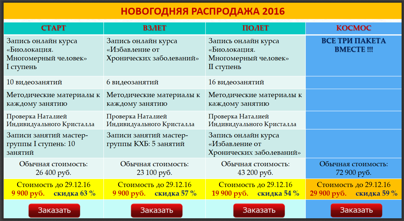 Новогодняя распродажа курсов Наталии Малиной 2016